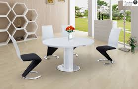 modern white gloss dining table modern zig zag high gloss dining chair black faux leather dining