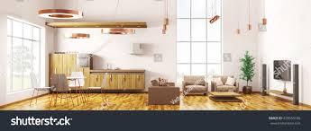 panorama modern loft apartment interior living stock illustration