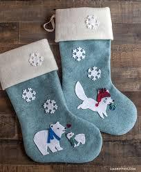 Polar Bear Decorations For Christmas by Diy Felt Christmas Stockings Lia Griffith