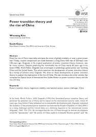 power transition theory and the rise of china pdf download available