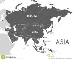 Asia Map Labeled by Political Asia Map Vector Illustration Isolated On White