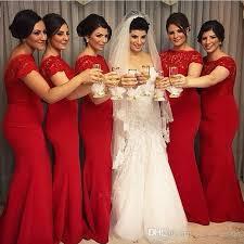 elegant red long mermaid bridesmaid dresses 2017 cap sleeves jewel