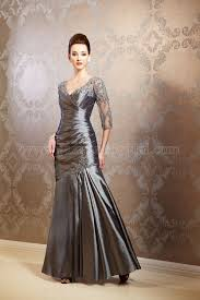 Mother Of Bride Dresses Couture by K158006lt Long V Neck Luminous Taffeta U0026 Lace Mob Dress With Sleeves