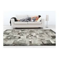 Grey Cowhide Rug Cowhide Leather Carpet Rug Grey Elephant Puzzle Handmade By