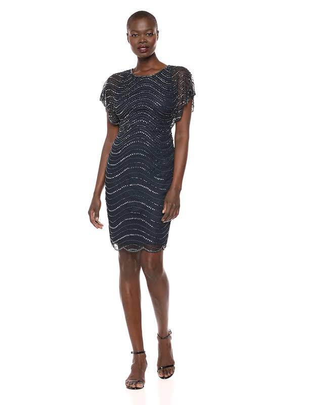 Adrianna Papell Beaded Flutter Sleeves Cocktail Dress Navy 4