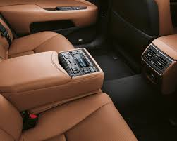 lexus interior parchment lsh shown in parchment leather trim with matte bamboo accent