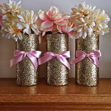 Vase Centerpieces For Baby Shower 3 Gold Vases Wedding Pink And Gold Baby Shower Centerpieces