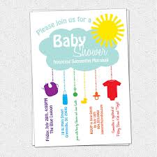 printable baby shower invitation rain cloud sunshine