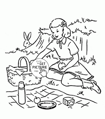 summer picnic coloring page for kids seasons coloring pages