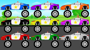 monster truck videos for kids youtube learn colors with police monster trucks video learning for kids