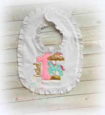 1st birthday bib 1st birthday carousel ruffle bib baby girl gold pink and
