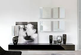 Black High Gloss Living Room Furniture Contemporary High Gloss Unico Wall Storage System In Black And