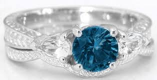 blue london rings images Three stone engraved vintage london blue topaz white sapphire jpg