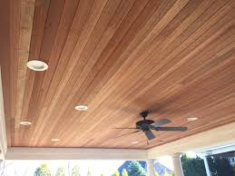 gorgeous mahogany tongue and groove ceiling for an outdoor porch