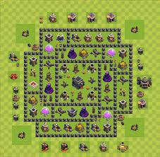 Layout Vila Nivel 9 Clash Of Clans | clash of clans base plan layout for trophies town hall level 9