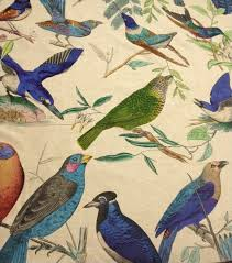 home decorating fabric aviary illustration brilliant birds hand print on linen home