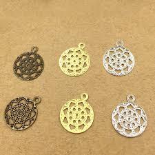 hair clasps 13mm vintage filigree flower charms circle pendant bu yao