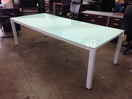 Glass Top Conference Table Chiarezza 8 Conference Table Green Frosted Glass Top And White