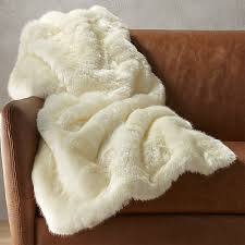 white faux fur throw blanket cb2