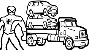 color cars on truck with spiderman coloring pages for kids
