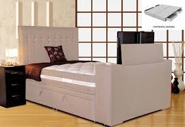 Ottoman Tv Bed Sparkle Divan Tv Bed White Sand Super King Size 6ft Platform