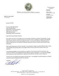 Executive Letter Of Resignation Kevin Mccarty Quits As State U0027s Insurance Commissioner Florida