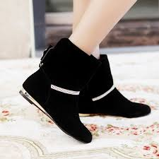 Black Suede Ankle Boots Low Heel Cheap Winter Round Toe Zipper Design Bow Tie Decorated Wedge Low