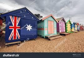 brighton bay beach houses melbourne city stock photo 187185887