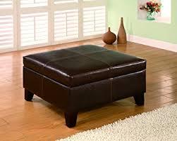 Wood Storage Ottoman Coaster 501042 Brown Leather Vinyl Storage