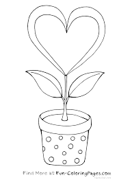 heart flower coloring pages coloring