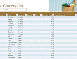 grocery list templates microsoft word templates