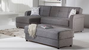 comfortable gray leather sleeper sofa with additional interior