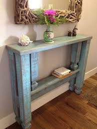 Narrow Entryway Table Rustic Blue Stained Wooden Entryway Table With Single Shelf With