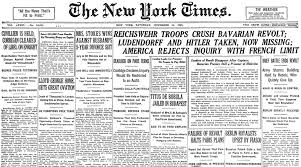 new york times report reveals new york times otd on twitter the front page otd in 1923