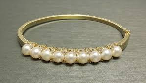 bangle bracelet with pearl images 14k gold 0 40tcw brilliant diamond cultured pearl bangle bracelet jpg