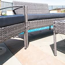 Steel Patio Furniture Sets - 4pc rattan wicker patio furniture set sofa chair table cushioned