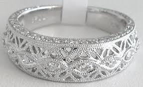 filigree wedding band antique floral filigree 0 29 ctw diamond anniversary band in 18k