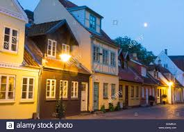 odense denmark beautiful old row homes cobblestone streets in hans