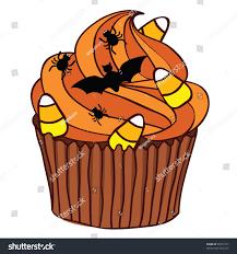 halloween spooky cupcake orange icing stock vector 85575163