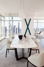 White Marble Dining Tables Bloomberg Tower Apartment By Tara Benet Design 02c 住宅 Dining