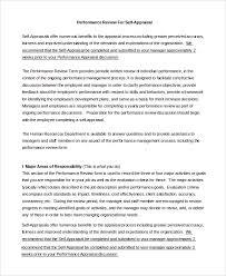 self assessment example employee performance appraisal self