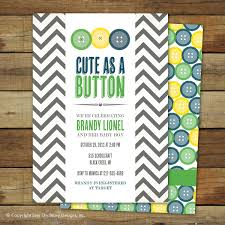 cute as a button baby shower invitation baby boy matching