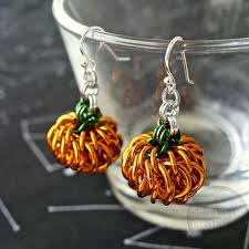 chainmaille pumpkin earrings fall earrings chainmail