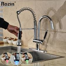 Spring Pull Down Kitchen Faucet Taps Basin Picture More Detailed Picture About Rgb Led Light