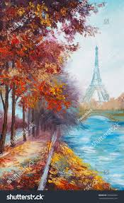 oil painting eiffel tower france autumn stock illustration