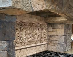 terrific natural stone tile kitchen backsplash with black iron
