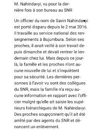 bureau du service national iburundi on update burundi snr staff savin nahindavyi was