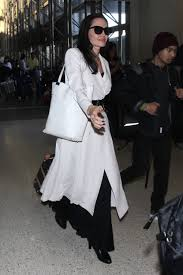 angelina jolie with everlane u0027s white petra market tote in los