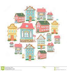 Cute Home Cute Cartoon Set Of Hand Drawn Houses Home Sweet Stock