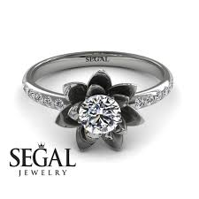 lotus engagement ring lotus flower engagement ring 14k white gold 0 5 carat cut